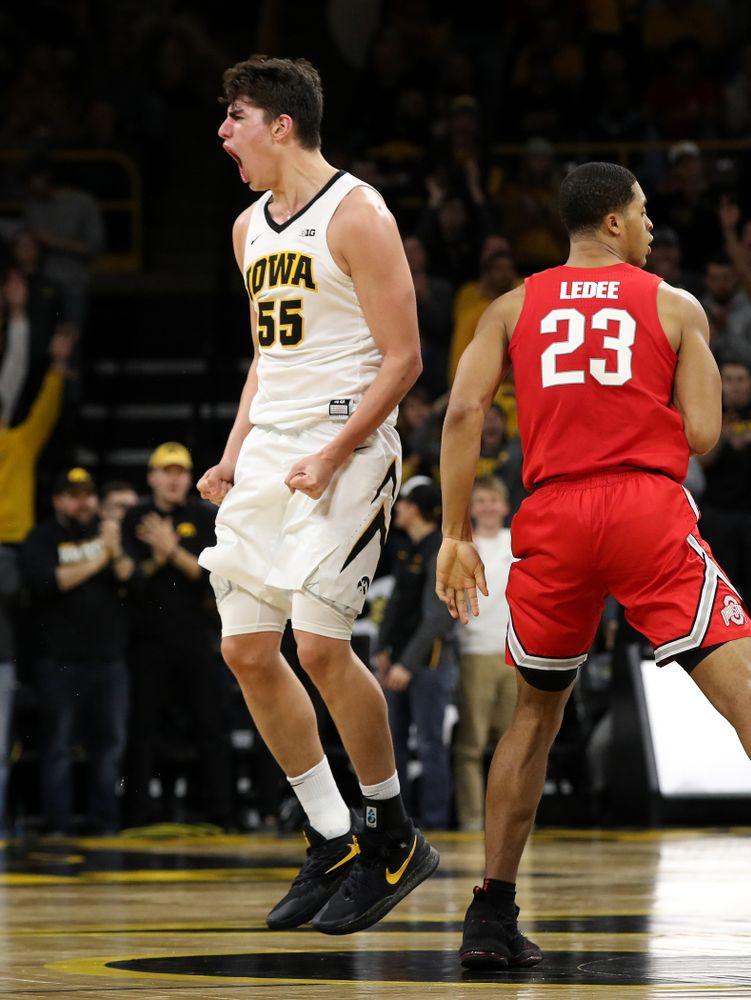 Iowa Hawkeyes forward Luka Garza (55) against the Ohio State Buckeyes Saturday, January 12, 2019 at Carver-Hawkeye Arena. (Brian Ray/hawkeyesports.com)