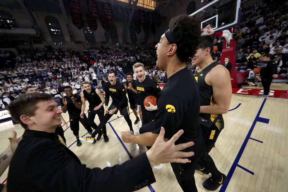 The Iowa Hawkeyes get pumped up for their game against Penn State Saturday, January 4, 2020 at the Palestra in Philadelphia. (Brian Ray/hawkeyesports.com)