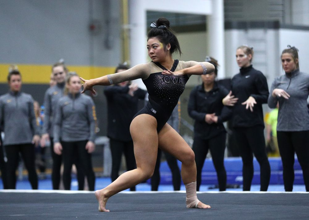 Clair Kaji competes on the floor during the Black and Gold intrasquad meet Saturday, December 1, 2018 at the University of Iowa Field House. (Brian Ray/hawkeyesports.com)