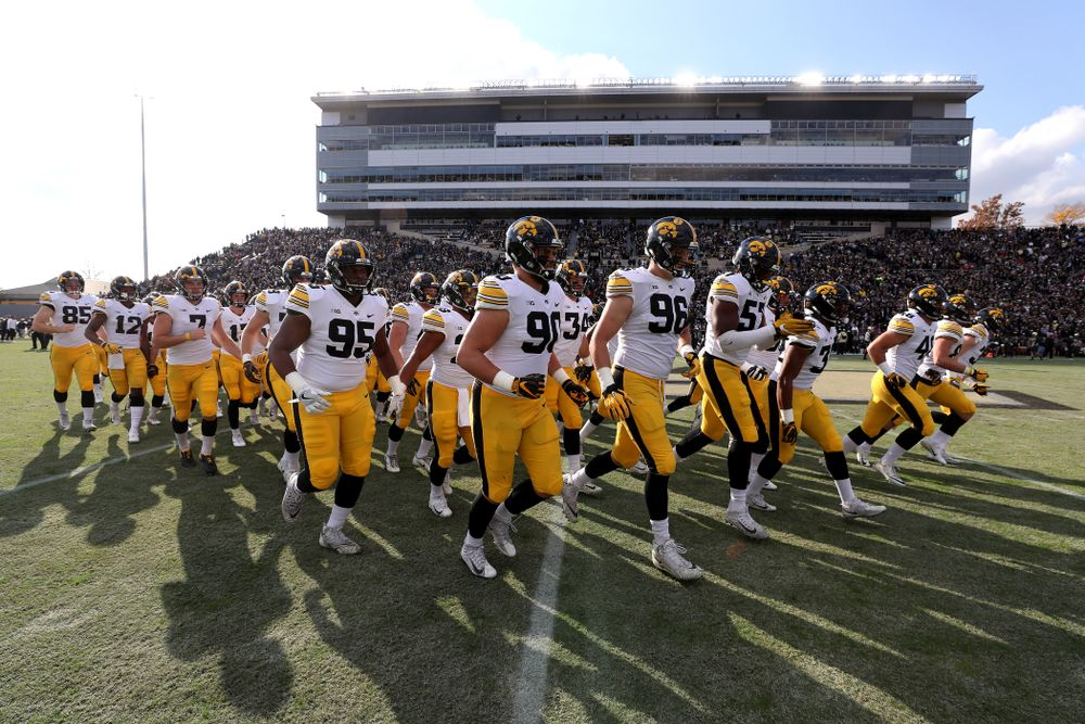 The Iowa Hawkeyes swarm onto the field against the Purdue Boilermakers Saturday, November 3, 2018 Ross Ade Stadium in West Lafayette, Ind. (Brian Ray/hawkeyesports.com)