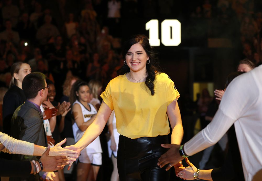 Megan Gustafson is introduced during a jersey retirement ceremony Sunday, January 26, 2020 at Carver-Hawkeye Arena. (Brian Ray/hawkeyesports.com)