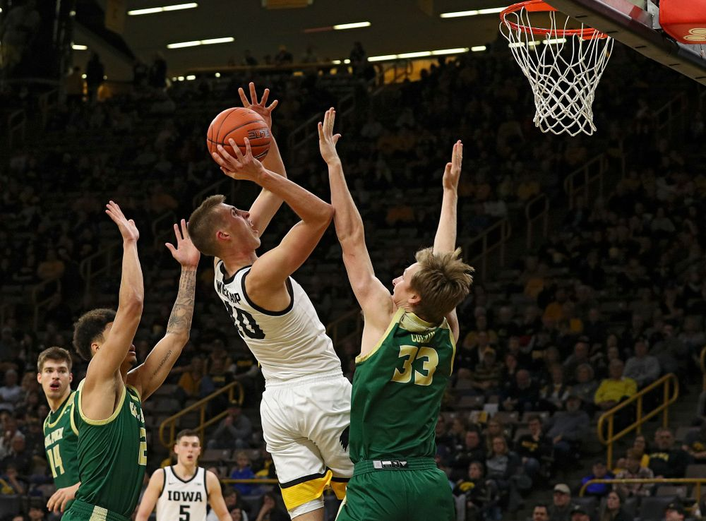 Iowa Hawkeyes guard Joe Wieskamp (10) puts up a shot during the second half of their game at Carver-Hawkeye Arena in Iowa City on Sunday, Nov 24, 2019. (Stephen Mally/hawkeyesports.com)