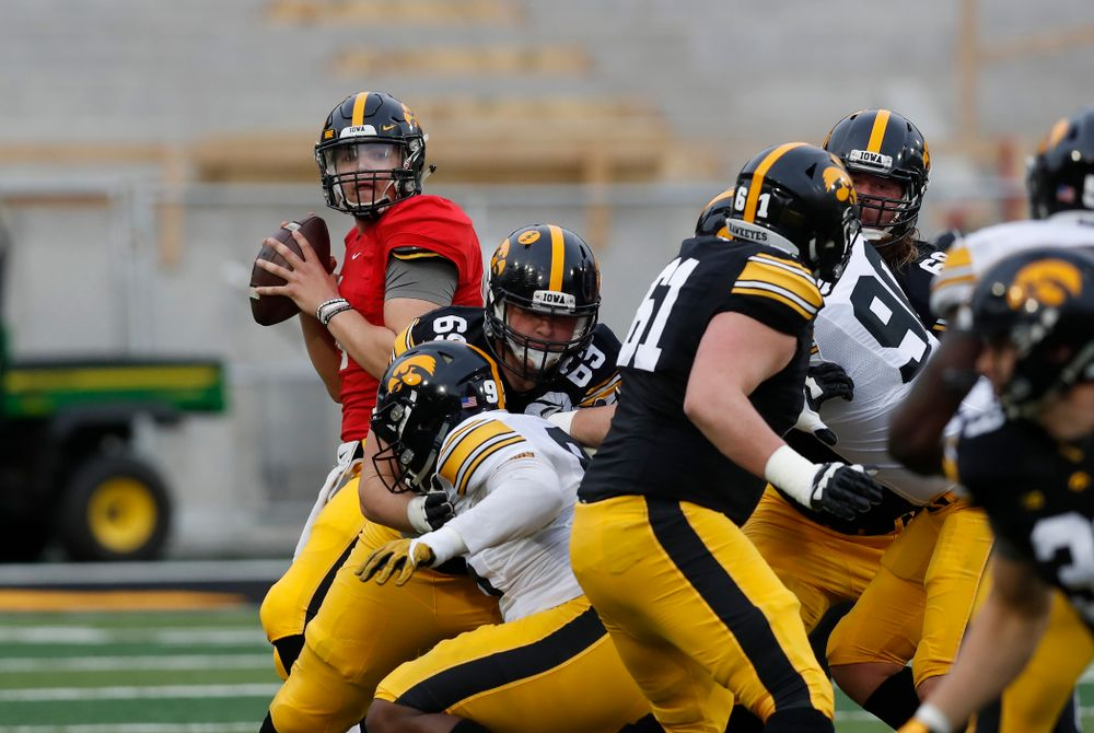 Iowa Hawkeyes quarterback Nathan Stanley (4) during the final spring practice Friday, April 20, 2018 at Kinnick Stadium. (Brian Ray/hawkeyesports.com)