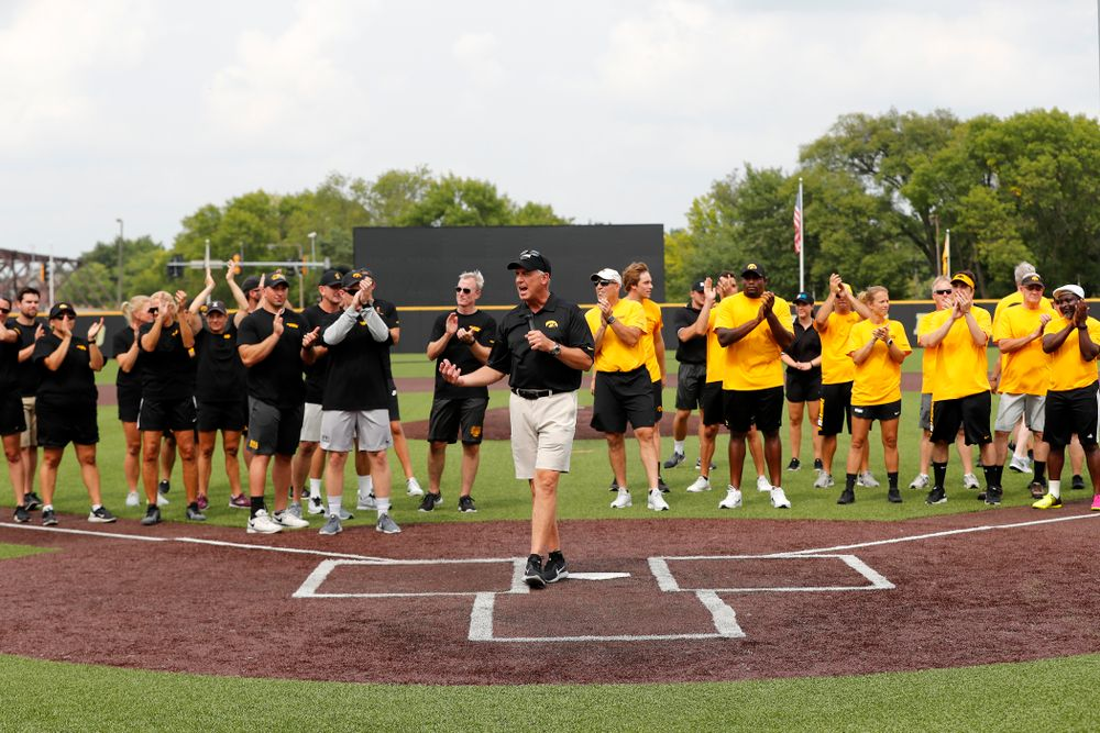 Director of Athletics Gary Barta during the Iowa Student Athlete Kickoff Kickball game  Sunday, August 19, 2018 at Duane Banks Field. (Brian Ray/hawkeyesports.com)