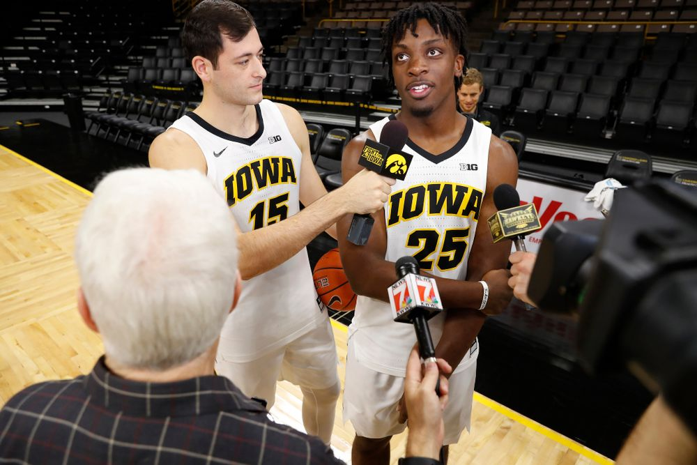 Iowa Hawkeyes forward Ryan Kriener (15) and forward Tyler Cook (25) during the team's annual media day Monday, October 8, 2018 at Carver-Hawkeye Arena. (Brian Ray/hawkeyesports.com)