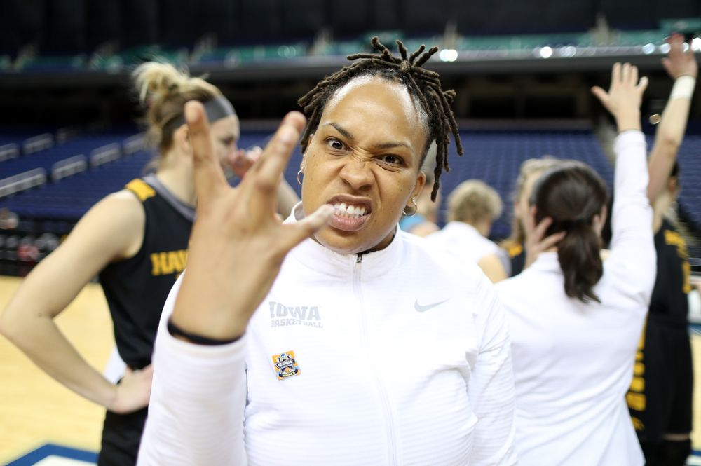 Assistant coach Raina Harmon during practice and media before the regional final of the 2019 NCAA Women's College Basketball Tournament against the Baylor Bears Sunday, March 31, 2019 at Greensboro Coliseum in Greensboro, NC.(Brian Ray/hawkeyesports.com)