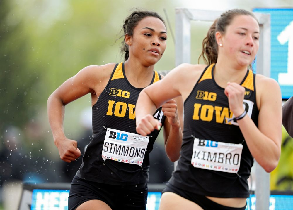 Iowa's Tria Simmons (from left) and Jenny Kimbro run in the women's 800 meter in the heptathlon event on the second day of the Big Ten Outdoor Track and Field Championships at Francis X. Cretzmeyer Track in Iowa City on Saturday, May. 11, 2019. (Stephen Mally/hawkeyesports.com)