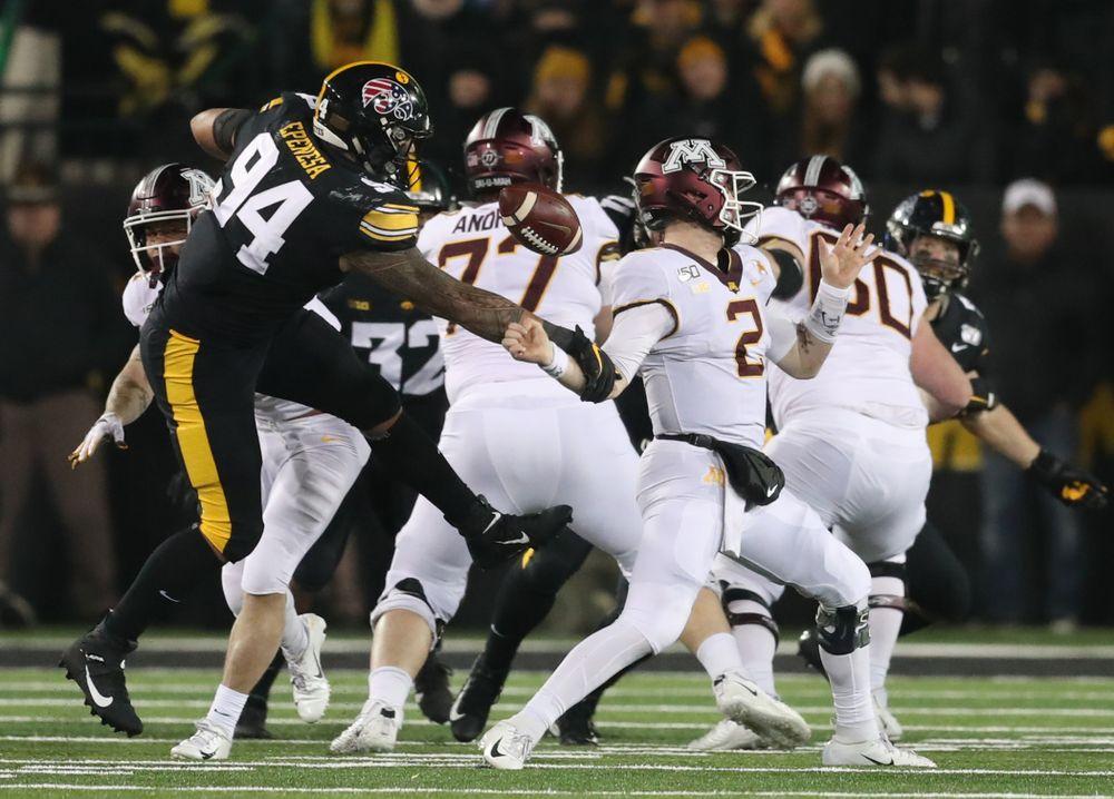 Iowa Hawkeyes defensive end A.J. Epenesa (94) against Minnesota Saturday, September 28, 2019 at Kinnick Stadium. (Max Allen/hawkeyesports.com)
