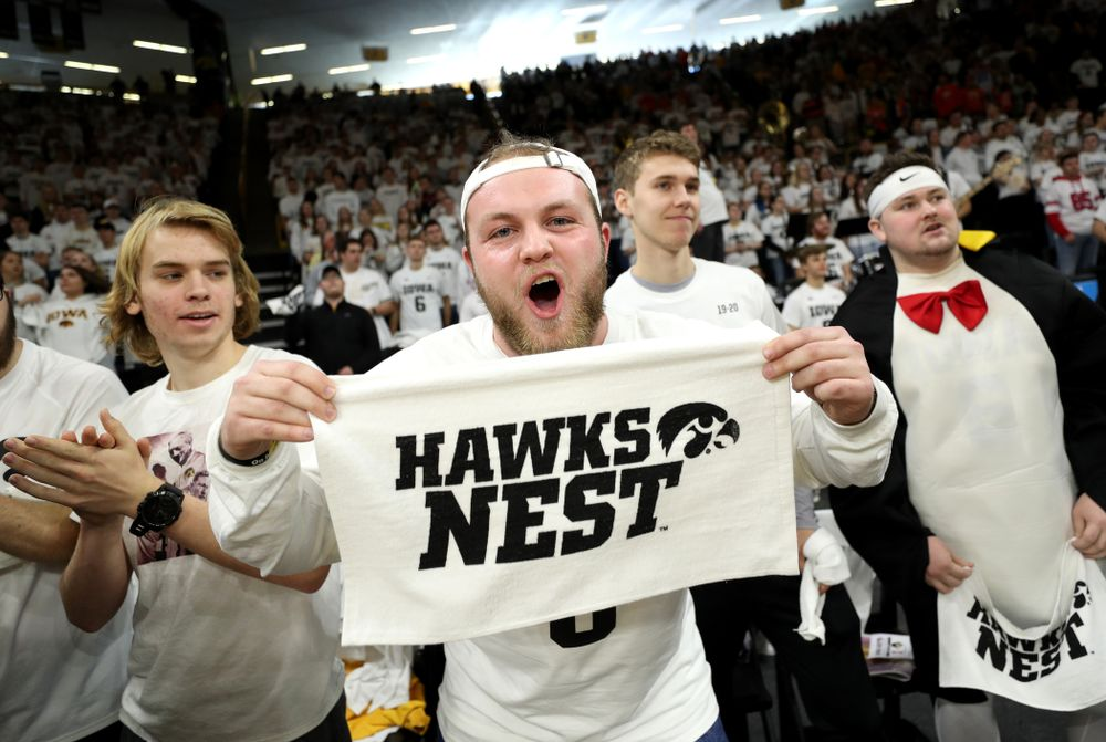 The Hawks Nest before the Iowa Hawkeyes game against the Illinois Fighting Illini Sunday, February 2, 2020 at Carver-Hawkeye Arena. (Brian Ray/hawkeyesports.com)