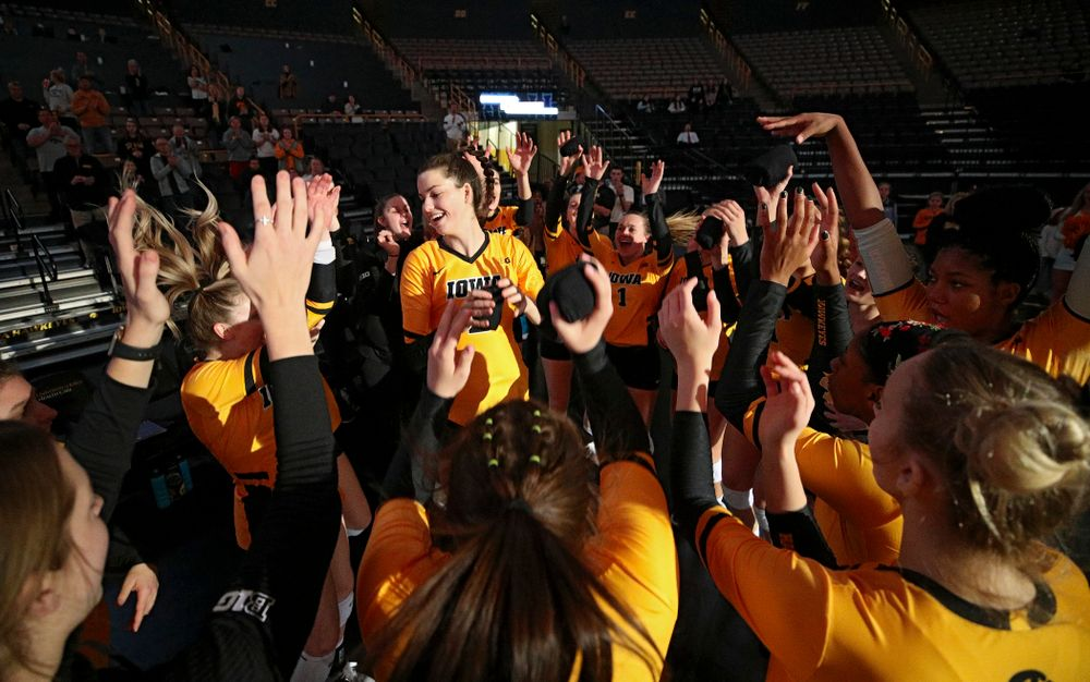 Iowa's Courtney Buzzerio (2) is introduced before their match at Carver-Hawkeye Arena in Iowa City on Friday, Nov 29, 2019. (Stephen Mally/hawkeyesports.com)