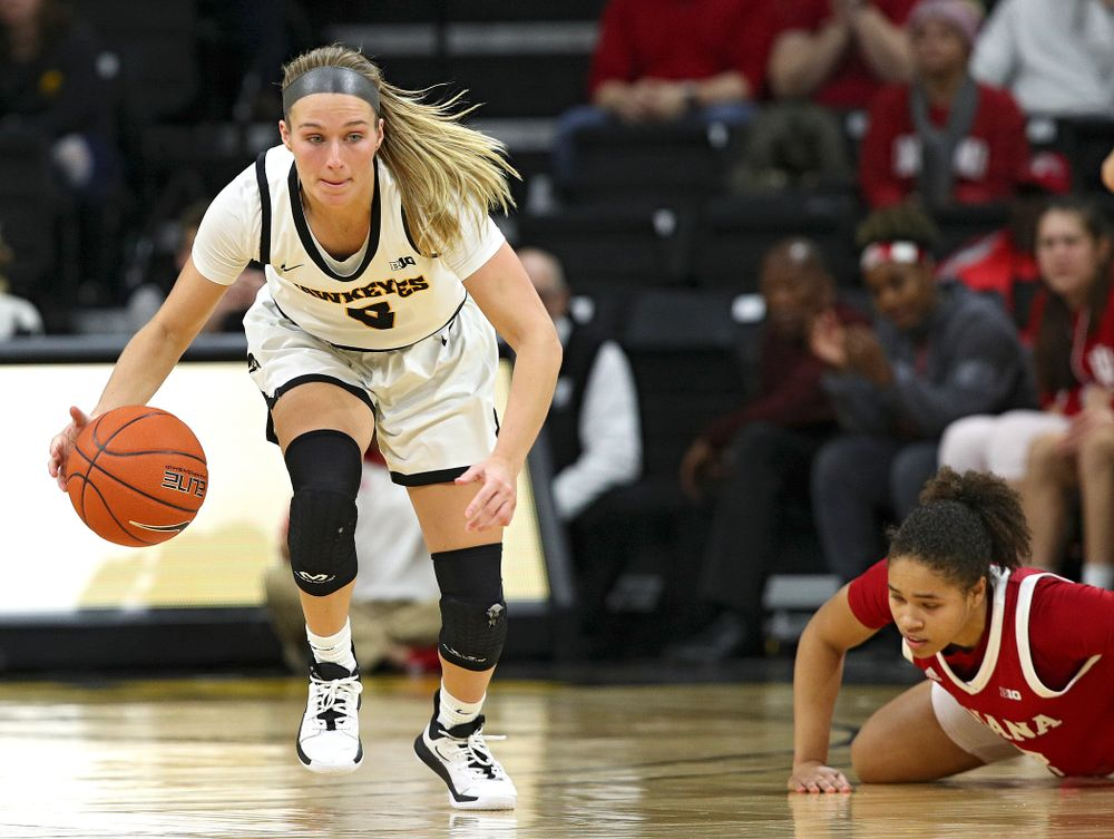Iowa Hawkeyes guard Makenzie Meyer (3) steals the ball away during the fourth quarter of their game at Carver-Hawkeye Arena in Iowa City on Sunday, January 12, 2020. (Stephen Mally/hawkeyesports.com)