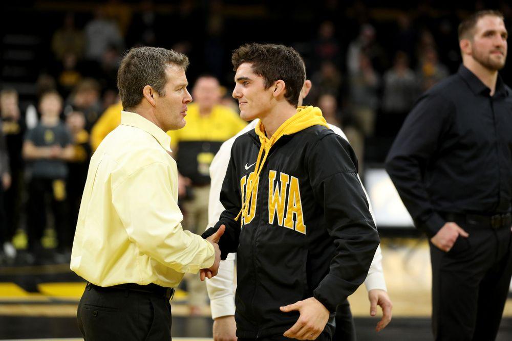 Iowa's Paul Glynn during senior day activities Sunday, February 23, 2020 at Carver-Hawkeye Arena. (Brian Ray/hawkeyesports.com)
