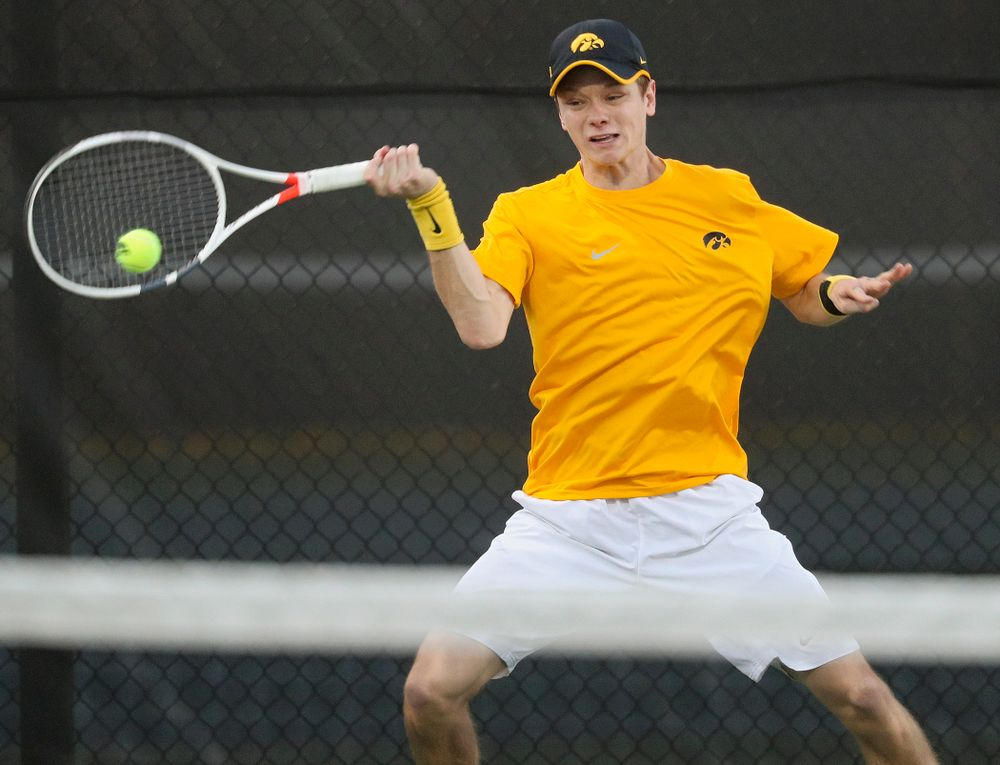 Iowa's Jason Kerst during his match again Michigan State at the Hawkeye Tennis and Recreation Complex in Iowa City on Friday, Apr. 19, 2019. (Stephen Mally/hawkeyesports.com)