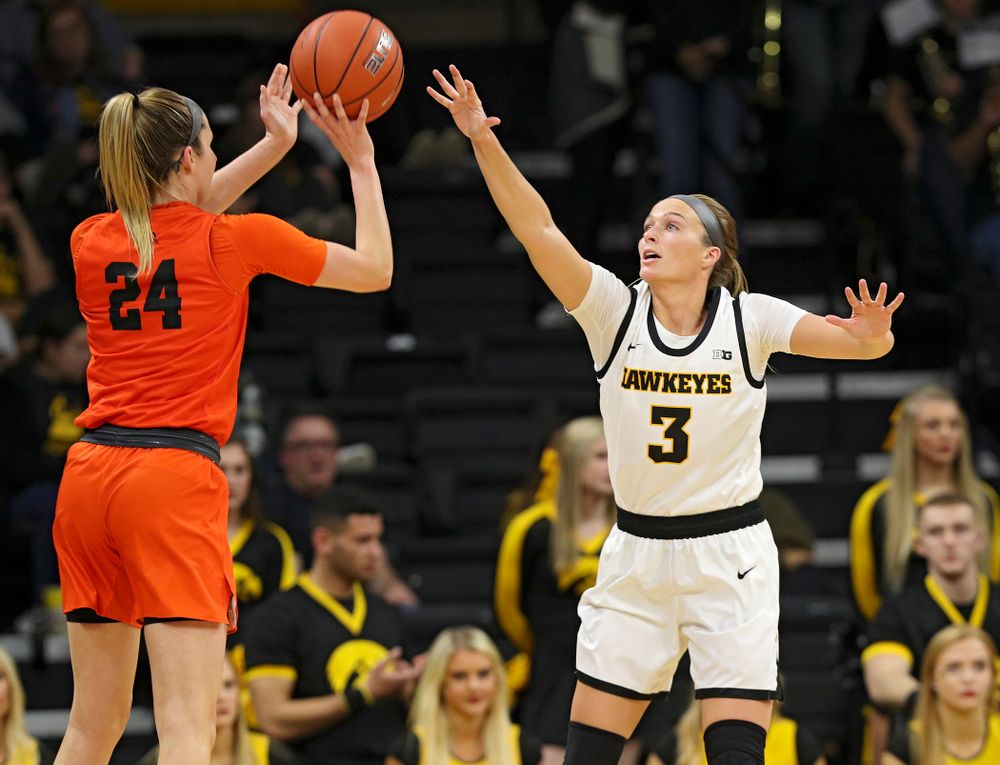 Iowa guard Makenzie Meyer (3) defends during the fourth quarter of their overtime win against Princeton at Carver-Hawkeye Arena in Iowa City on Wednesday, Nov 20, 2019. (Stephen Mally/hawkeyesports.com)