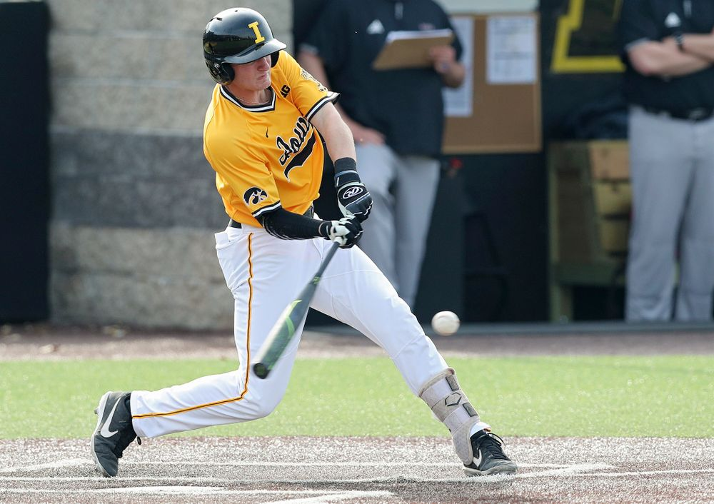 Iowa Hawkeyes second baseman Brendan Sher (2) hits a double during the third inning of their game against Northern Illinois at Duane Banks Field in Iowa City on Tuesday, Apr. 16, 2019. (Stephen Mally/hawkeyesports.com)