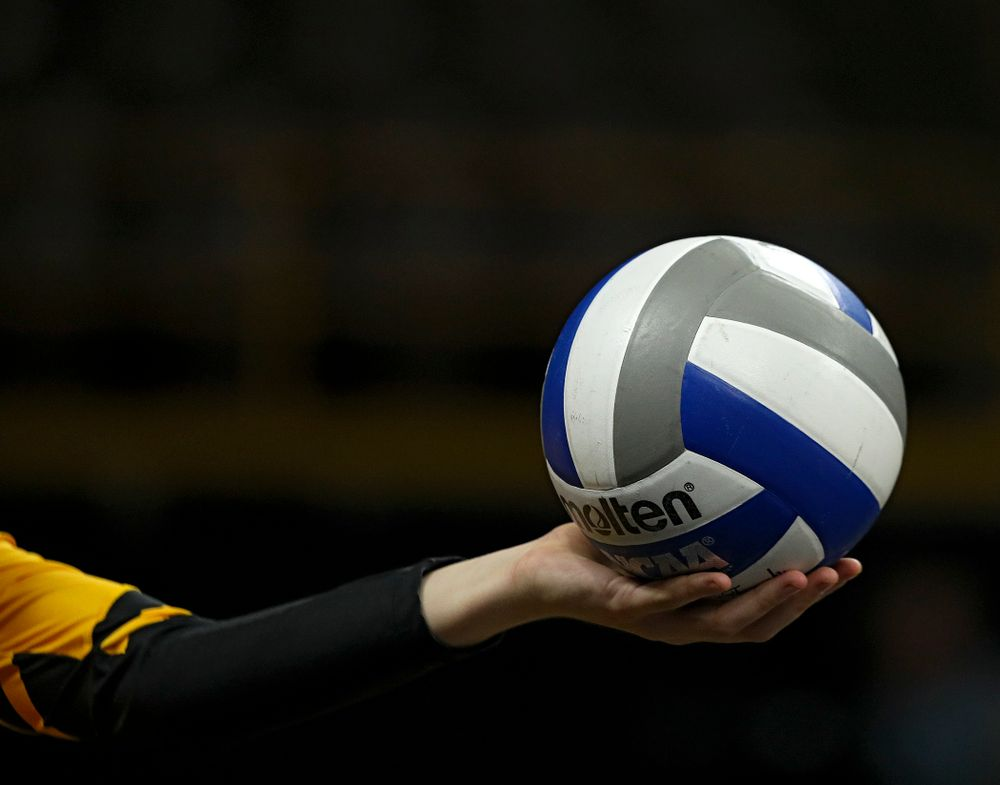 The ball is about to be served during a match at Carver-Hawkeye Arena in Iowa City on Sunday, Oct 20, 2019. (Stephen Mally/hawkeyesports.com)