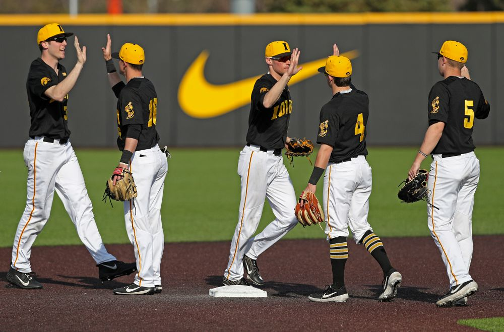 The Iowa Hawkeyes celebrate after winning their game against Rutgers at Duane Banks Field in Iowa City on Saturday, Apr. 6, 2019. (Stephen Mally/hawkeyesports.com)