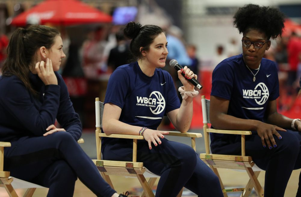 Iowa Hawkeyes forward Megan Gustafson (10) participates in a panel discussion with the other WBCA All Americans at the Tourney Town Fan Fest Friday, April 5, 2019 at the Tampa Convention Center in Tampa, FL. (Brian Ray/hawkeyesports.com)