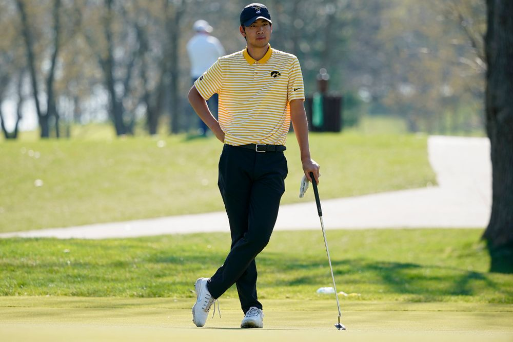 Iowa's Joe Kim waits to putt during the third round of the Hawkeye Invitational at Finkbine Golf Course in Iowa City on Sunday, Apr. 21, 2019. (Stephen Mally/hawkeyesports.com)