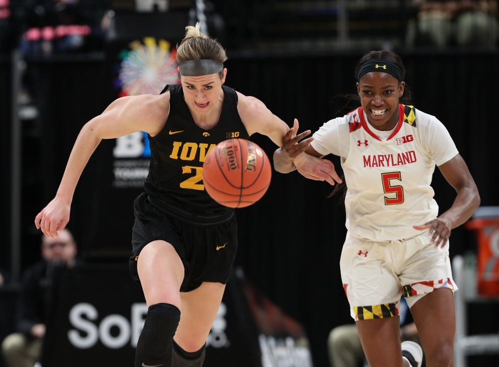Iowa Hawkeyes forward Hannah Stewart (21) against the Maryland Terrapins Sunday, March 10, 2019 at Bankers Life Fieldhouse in Indianapolis, Ind. (Brian Ray/hawkeyesports.com)