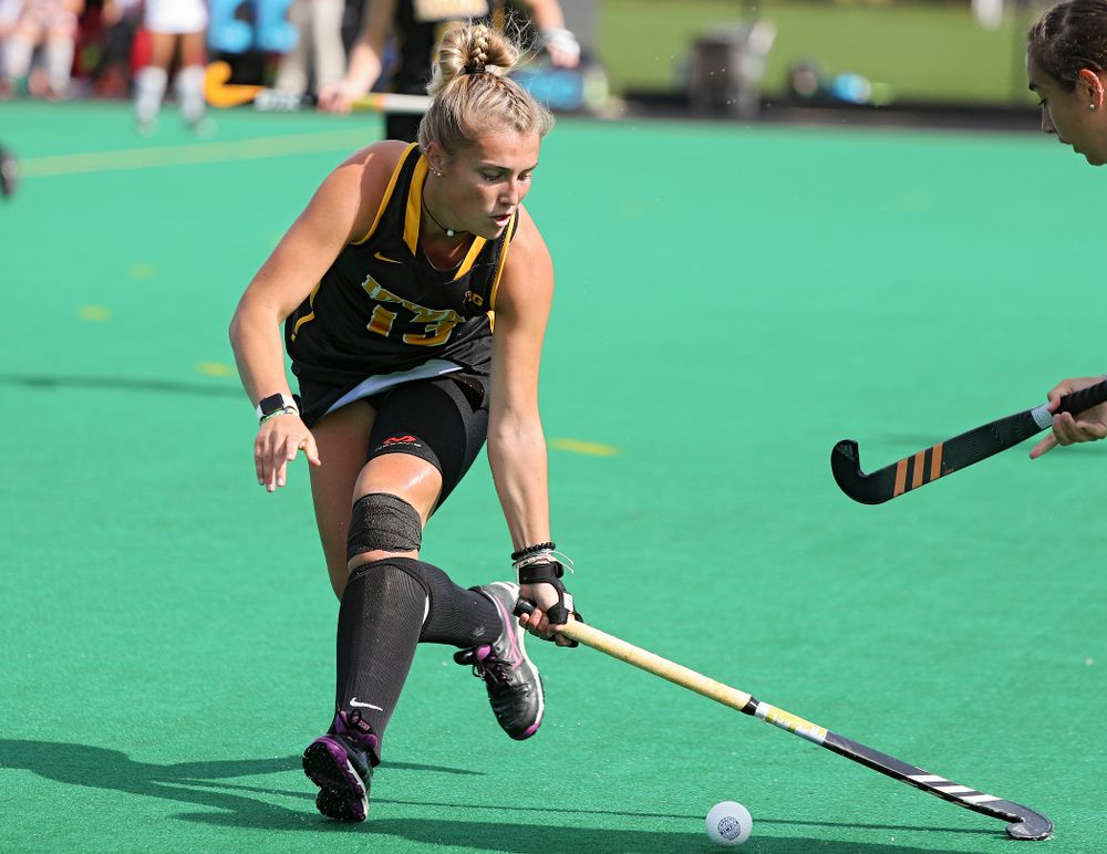 Iowa's Leah Zellner (13) tries to control the ball during the first quarter of their match at Grant Field in Iowa City on Friday, Oct 4, 2019. (Stephen Mally/hawkeyesports.com)