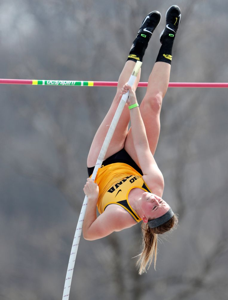Iowa's Amy Smith competes in the Pole Vault during the 2018 MUSCO Twilight Invitational  Thursday, April 12, 2018 at the Cretzmeyer Track. (