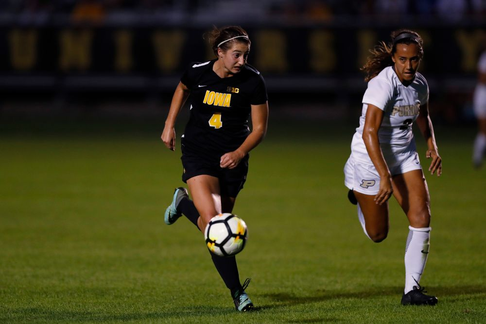 Iowa Hawkeyes Kaleigh Haus (4) against the Purdue Boilermakers Thursday, September 20, 2018 at the Iowa Soccer Complex. (Brian Ray/hawkeyesports.com)