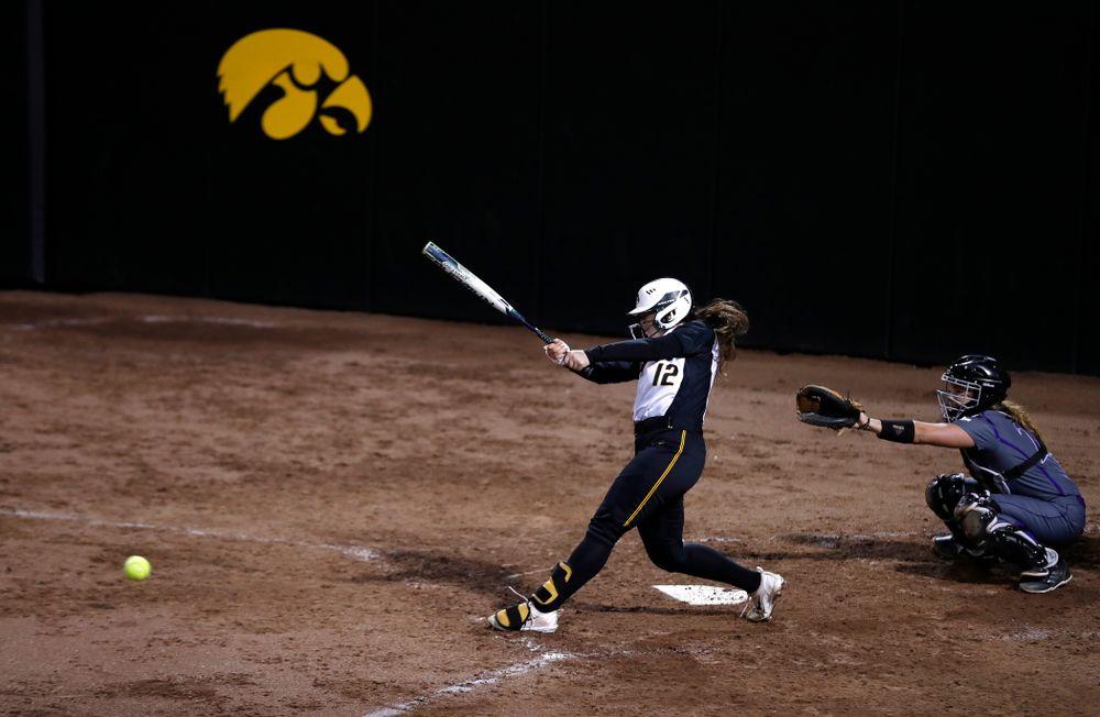 Iowa Hawkeyes catcher Angela Schmiederer (12) against Western Illinois Tuesday, April 17, 2018 at Bob Pearl Field. (Brian Ray/hawkeyesports.com)
