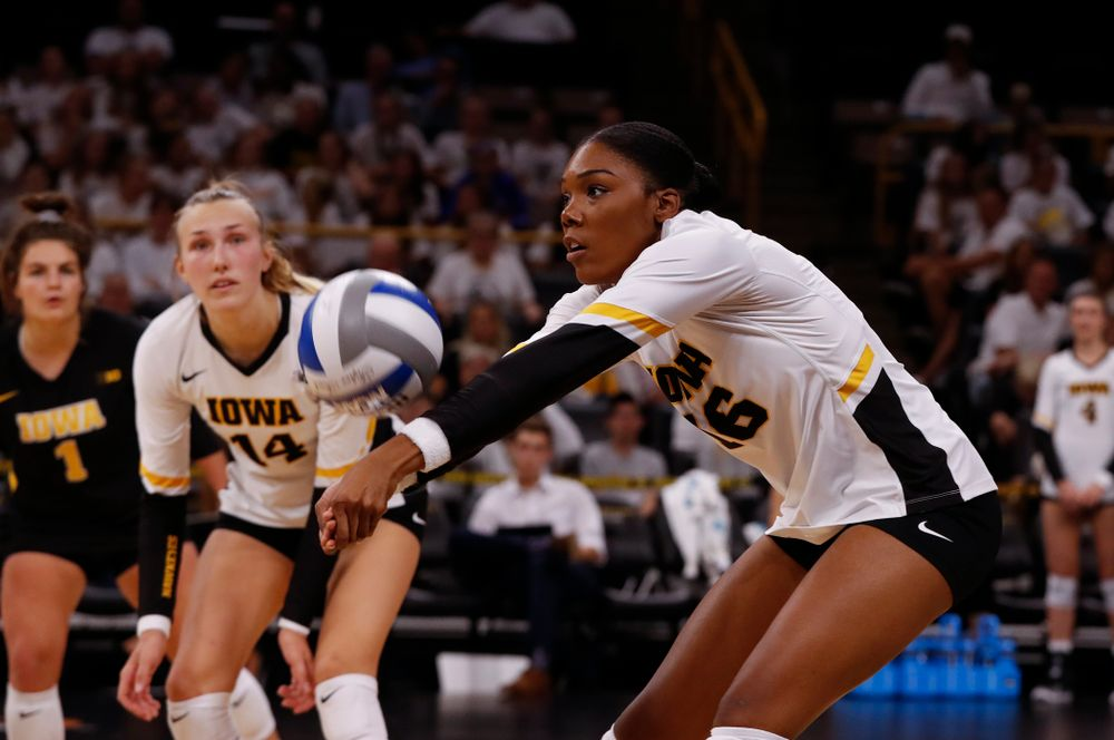 Iowa Hawkeyes outside hitter Taylor Louis (16) against the Michigan State Spartans Friday, September 21, 2018 at Carver-Hawkeye Arena. (Brian Ray/hawkeyesports.com)
