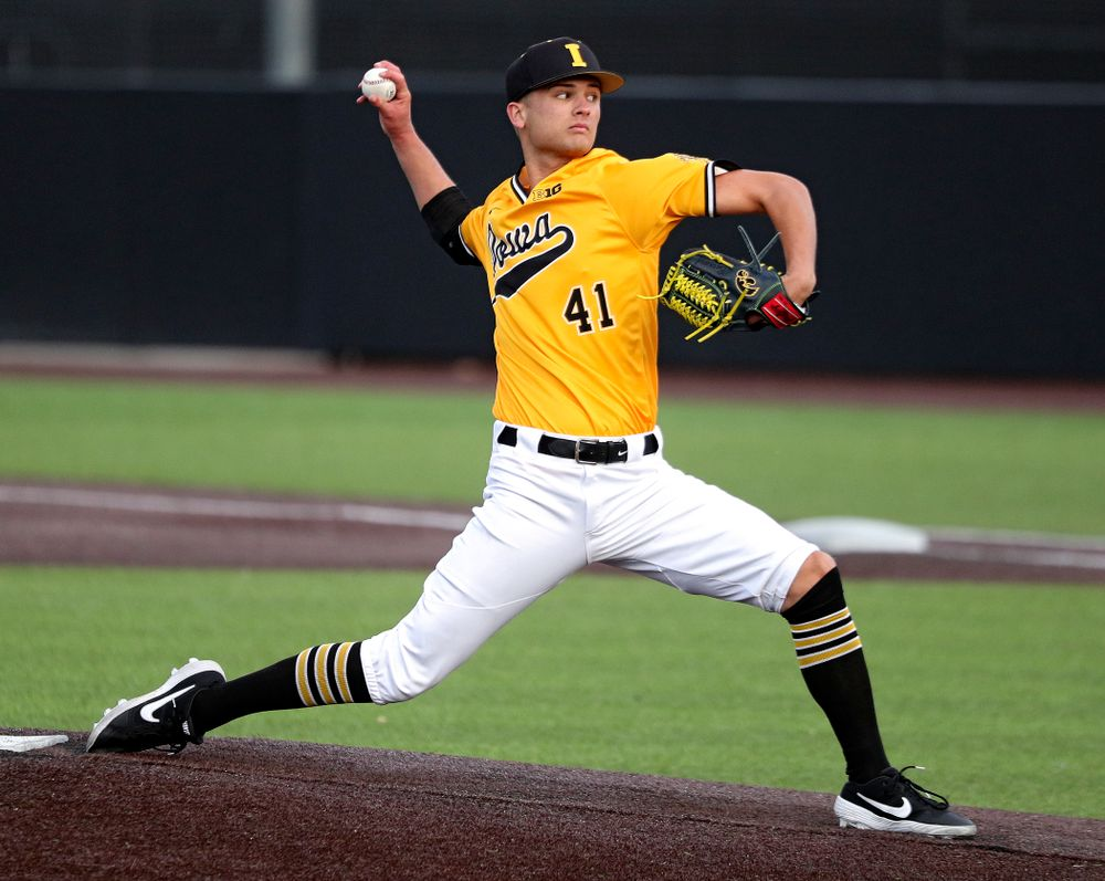 Iowa pitcher Sean Barnard (41) delivers to the plate during the sixth inning of the first game of the Black and Gold Fall World Series at Duane Banks Field in Iowa City on Tuesday, Oct 15, 2019. (Stephen Mally/hawkeyesports.com)