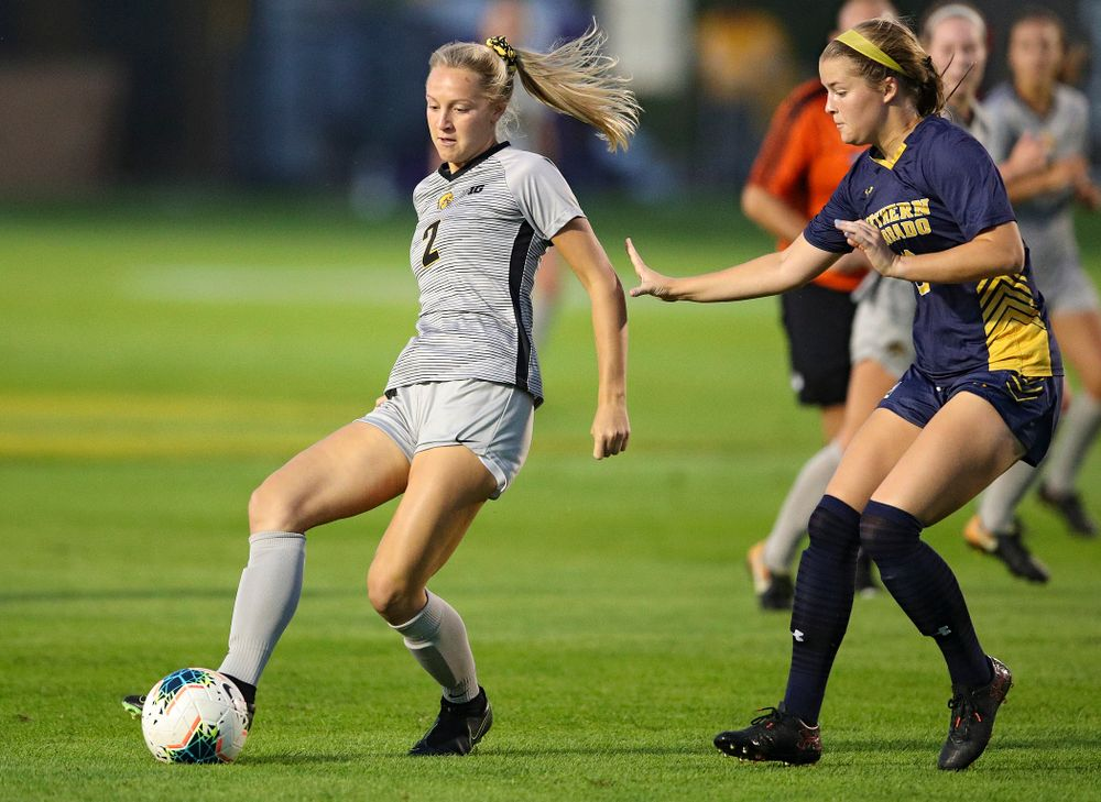 Iowa midfielder Hailey Rydberg (2) passes during the first half of their match at the Iowa Soccer Complex in Iowa City on Friday, Sep 13, 2019. (Stephen Mally/hawkeyesports.com)