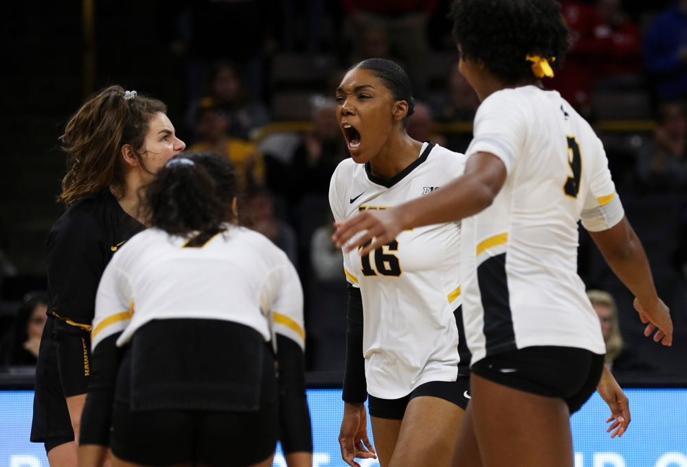 Iowa Hawkeyes outside hitter Taylor Louis (16) celebrates after winning a point during a match against Nebraska at Carver-Hawkeye Arena on November 7, 2018. (Tork Mason/hawkeyesports.com)