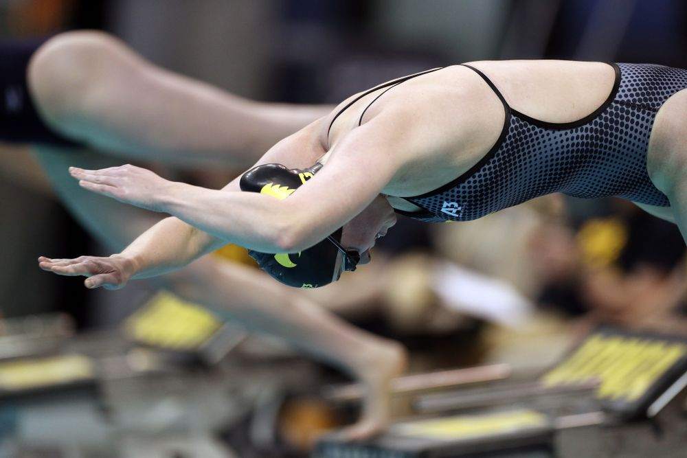 IowaÕs Kelsey Drake swims the 100 yard butterfly against the Michigan Wolverines Friday, November 1, 2019 at the Campus Recreation and Wellness Center. (Brian Ray/hawkeyesports.com)