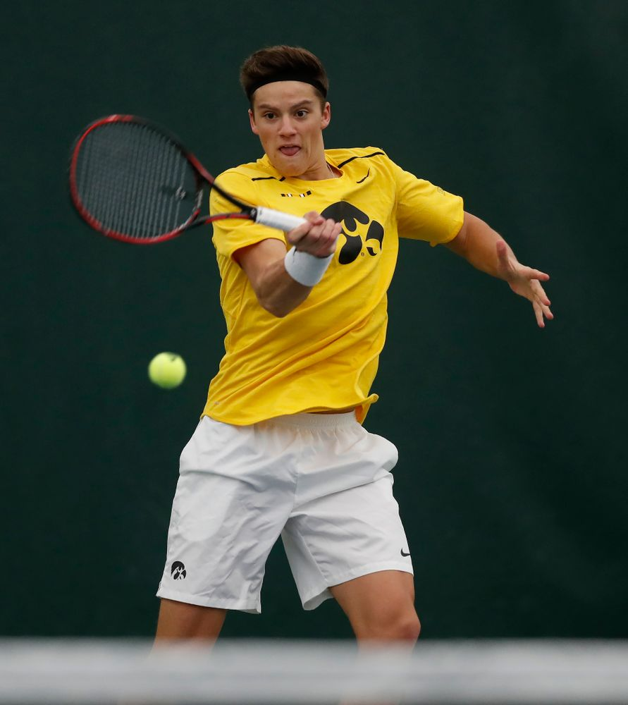 Iowa's Jake Jacoby and Joe Tyler play a doubles match against Creighton