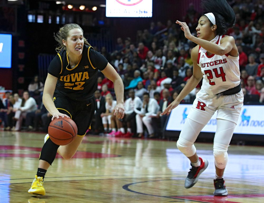 Iowa guard Kathleen Doyle (22) drives with the ball during the third quarter of their game at the Rutgers Athletic Center in Piscataway, N.J. on Sunday, March 1, 2020. (Stephen Mally/hawkeyesports.com)