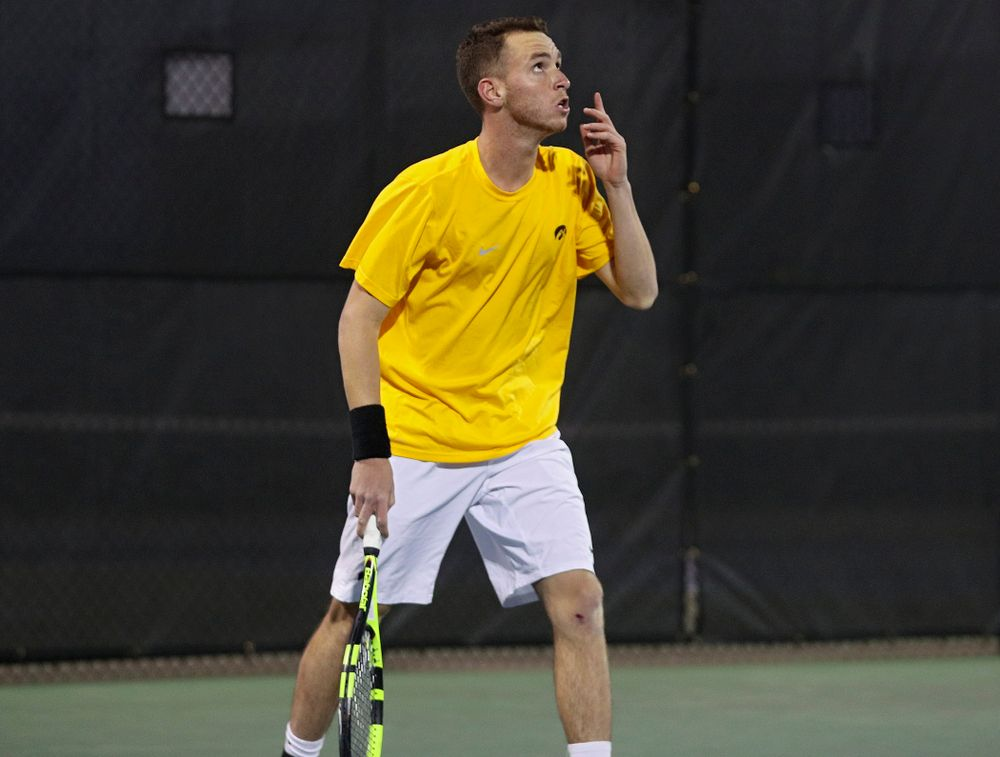 Iowa's Kareem Allaf celebrates after winning his match again Michigan State at the Hawkeye Tennis and Recreation Complex in Iowa City on Friday, Apr. 19, 2019. (Stephen Mally/hawkeyesports.com)