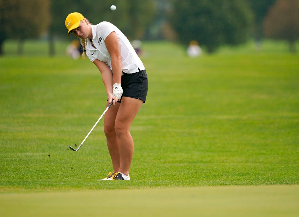 Iowa's Lilly Gentzkow chips onto the green during their dual against Northern Iowa at Pheasant Ridge Golf Course in Cedar Falls on Monday, Sep 2, 2019. (Stephen Mally/hawkeyesports.com)