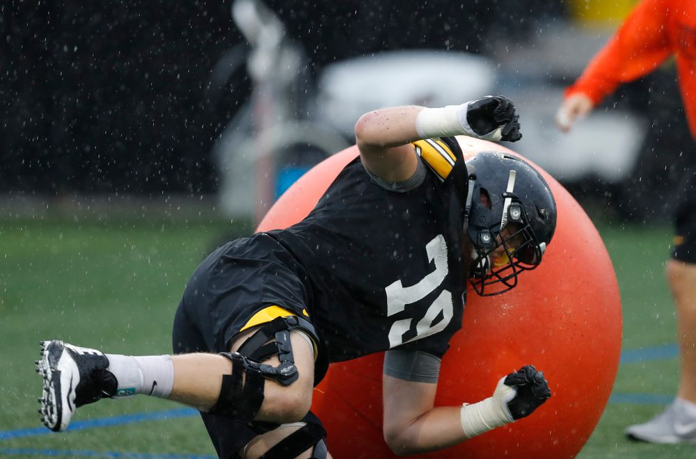 Iowa Hawkeyes offensive lineman Jack Plumb (79) during camp practice No. 15  Monday, August 20, 2018 at the Hansen Football Performance Center. (Brian Ray/hawkeyesports.com)