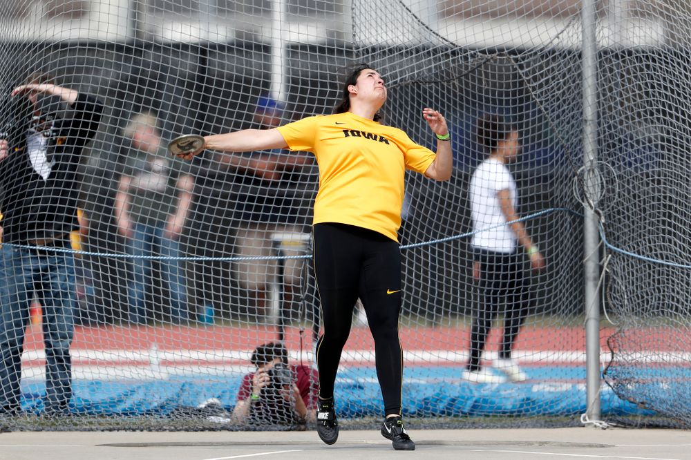 Iowa's Konstadina Spanoudakis competes in the discus during the 2018 MUSCO Twilight Invitational  Thursday, April 12, 2018 at the Cretzmeyer