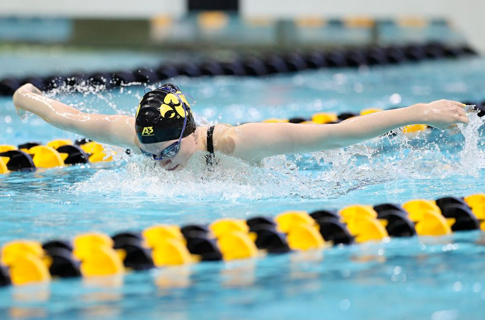 Iowa's Anna Brooker swims the women's 400 yard individual medley preliminary event during the 2020 Women's Big Ten Swimming and Diving Championships at the Campus Recreation and Wellness Center in Iowa City on Friday, February 21, 2020. (Stephen Mally/hawkeyesports.com)