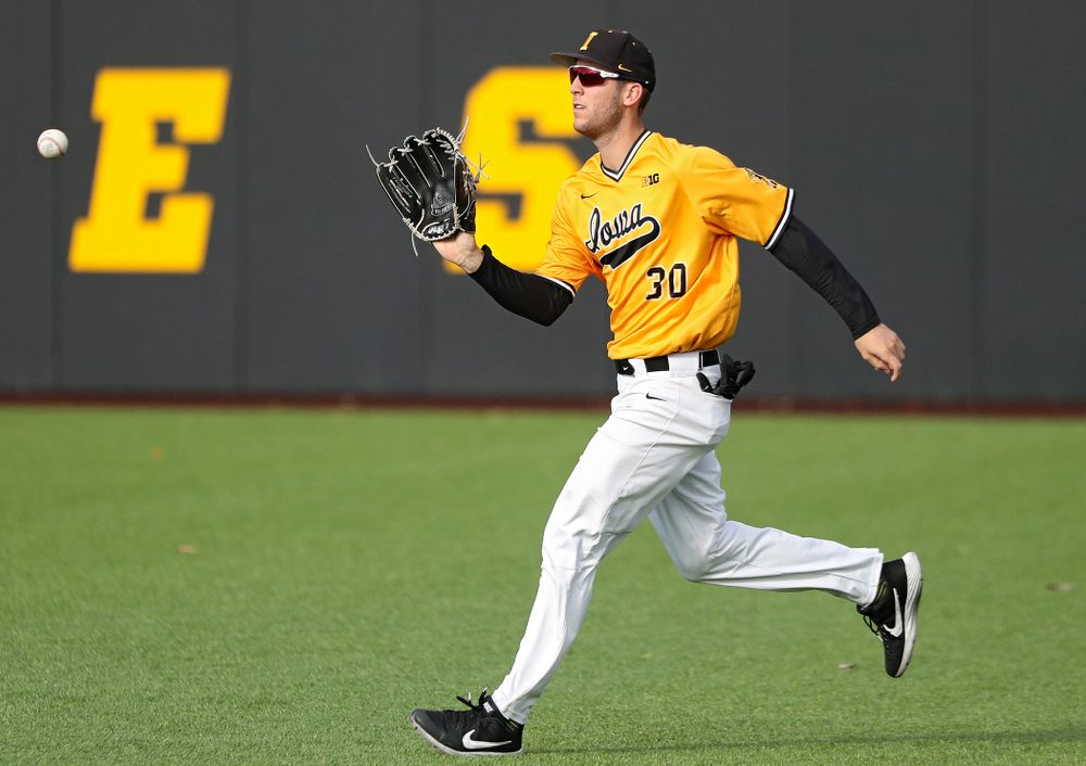 Iowa outfielder Connor McCaffery (30) fields a hit during the third inning of the first game of the Black and Gold Fall World Series at Duane Banks Field in Iowa City on Tuesday, Oct 15, 2019. (Stephen Mally/hawkeyesports.com)