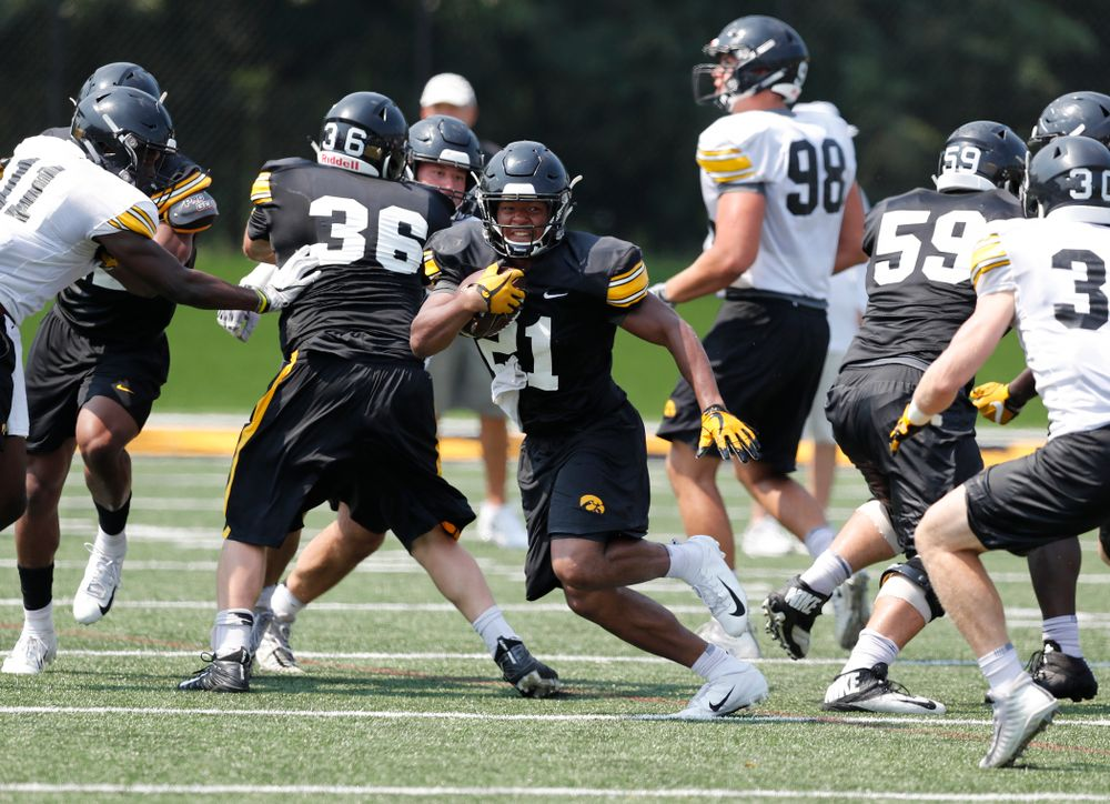 Iowa Hawkeyes running back Ivory Kelly-Martin (21) during practice No. 7 of fall camp Friday, August 10, 2018 at the Kenyon Football Practice Facility. (Brian Ray/hawkeyesports.com)