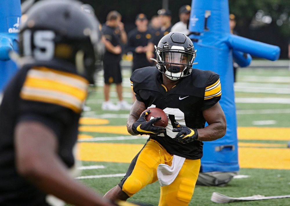 Iowa Hawkeyes running back Mekhi Sargent (10) on a run durning Fall Camp Practice No. 17 at the Hansen Football Performance Center in Iowa City on Wednesday, Aug 21, 2019. (Stephen Mally/hawkeyesports.com)