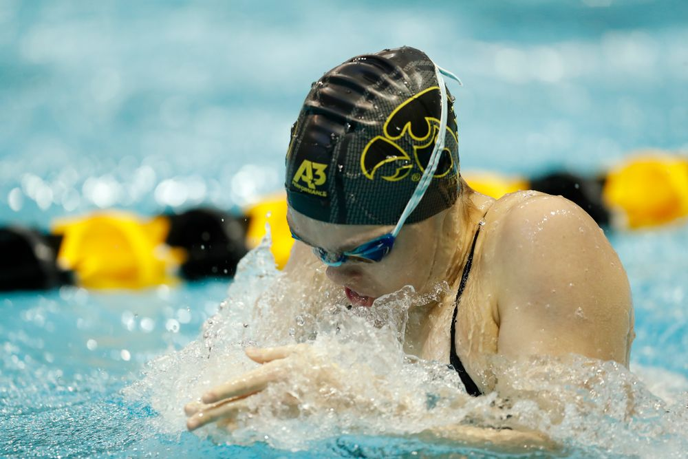 Iowa's Lexi Horner swims the 100 yard breaststroke