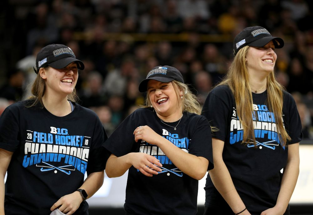 Grace McGuire, Maddy Murphy, Lokke Stribos and the rest of the Iowa Field Hockey team are recognized during the Iowa Hawkeyes game against the Ohio State Buckeyes Thursday, February 20, 2020 at Carver-Hawkeye Arena. (Brian Ray/hawkeyesports.com)