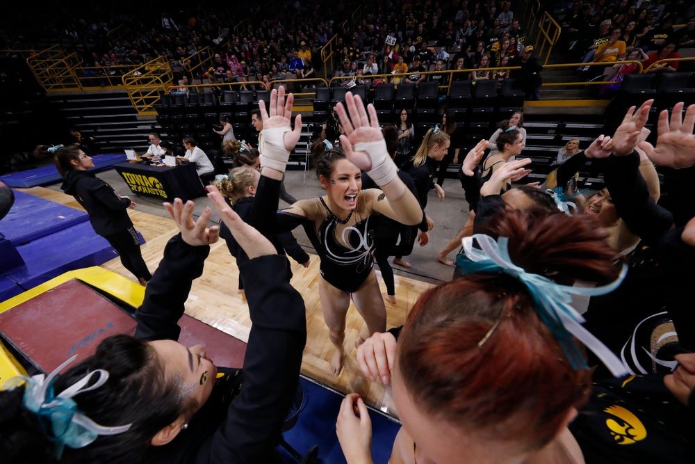 Iowa's Lanie Snyder competes on the vault against the Nebraska Cornhuskers