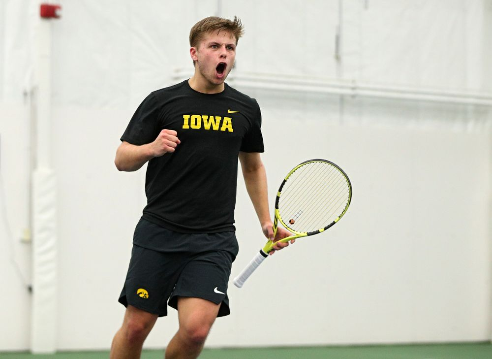 Iowa's Will Davies celebrates a point during his singles match at the Hawkeye Tennis and Recreation Complex in Iowa City on Friday, March 6, 2020. (Stephen Mally/hawkeyesports.com)