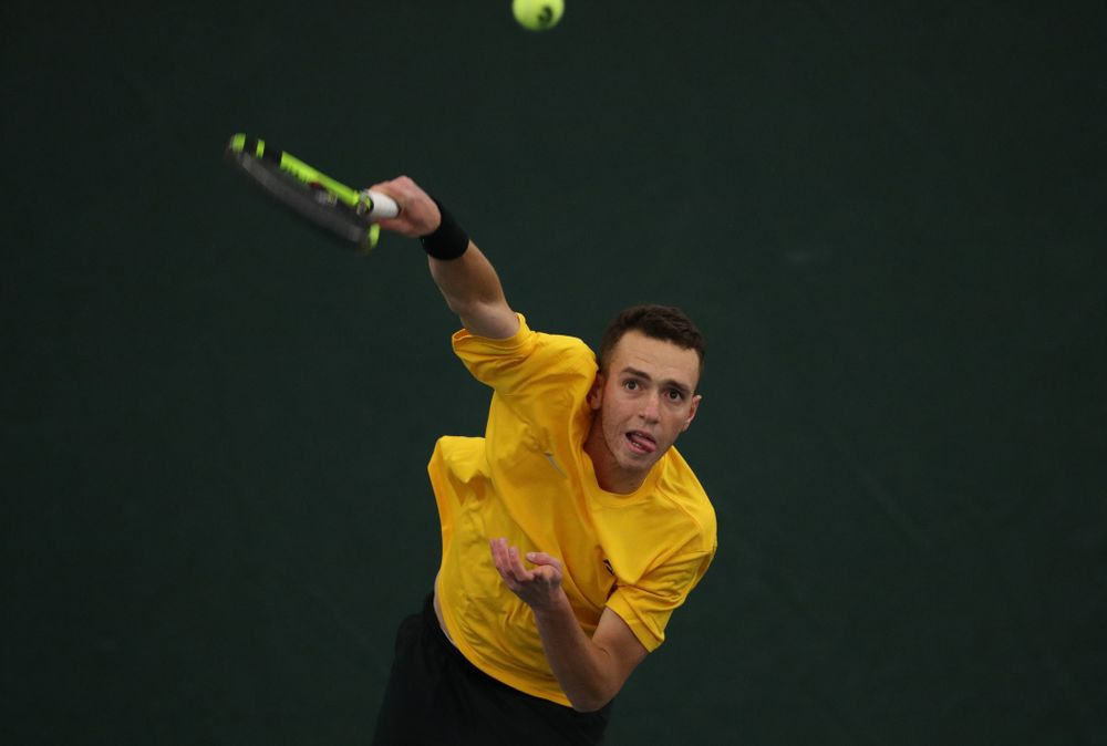 Kareem Allaf against the Butler Bulldogs Sunday, January 27, 2019 at the Hawkeye Tennis and Recreation Complex. (Brian Ray/hawkeyesports.com)