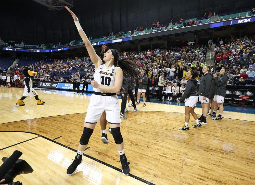 Iowa Hawkeyes forward Megan Gustafson (10) against the NC State Wolfpack in the regional semi-final of the 2019 NCAA Women's College Basketball Tournament Saturday, March 30, 2019 at Greensboro Coliseum in Greensboro, NC.(Brian Ray/hawkeyesports.com)