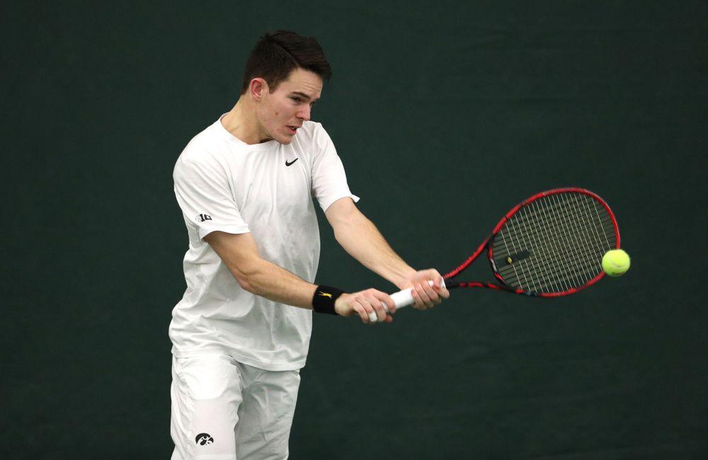 Iowa's Jonas Larsen against North Dakota Friday, January 25, 2019 at the Hawkeye Tennis and Recreation Complex. (Brian Ray/hawkeyesports.com)